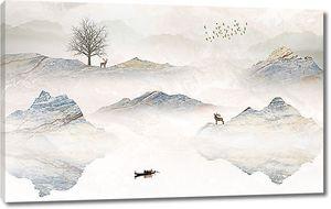 Фигуры оленей на горных вершинах