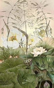 Лотос среди растений