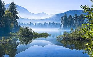 Лесное озеро на фоне гор