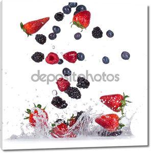 Свежие ягоды с плеск воды
