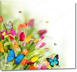 Прекрасные весенние цветы с бабочками
