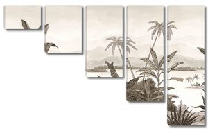 Тропические растения в монохроме