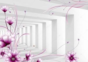 Фиолетовые цветы в тоннеле