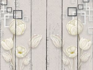 Текстурный фон, большие белые тюльпаны