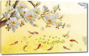 Японские рыбки и веточка дерева