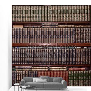 Корешки книг в библиотеке