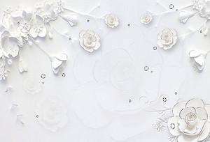 Белые цветы с серебренной окантовкой