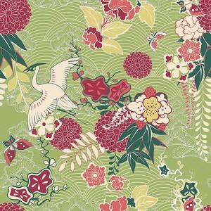 Цветочный  орнамент с японским журавликом