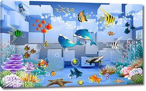Дельфинчики на фоне кубов