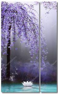 Лотос под распустившимся деревом