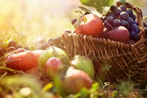 Корзинка с яблоками и виноградом