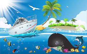 Белый катер и кит