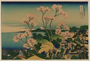 Кацусика Хокусай. Вид Фудзи с горы Готэнъяма у реки Синагава на дороге Токайдо