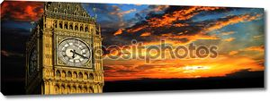 Биг Бен на закате Панорама, Лондон