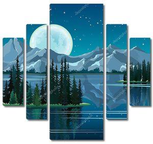 Сосны и полная луна, отражение в воде с гор