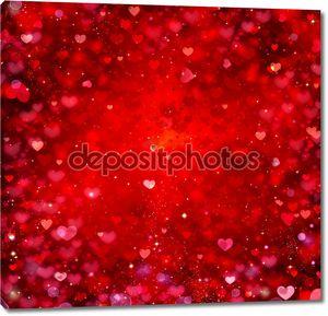 Валентина сердца красный абстрактный фон. День Св.Валентина