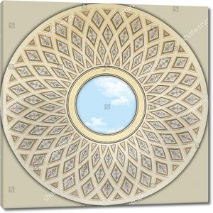 Небо в центре купола с ромбовидными узорами