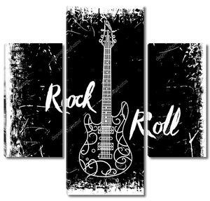 Vintage рука нарисованные плакат с электрической гитары и рок-н-надписи на фоне гранж. Ретро векторная иллюстрация. Дизайн, ретро карты, печать, футболки, открытки