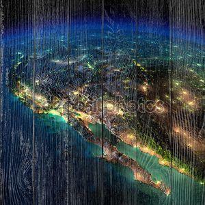 Земля ночью. часть Северной Америки - Мексика и Западной u