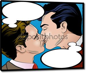 Поп-арт стиль мужчины поцелуи.