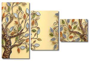 Два дерева с разноцветными листьями