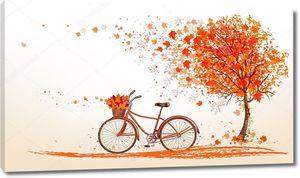 Осенний фон с дерева и велосипед. Вектор.