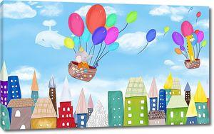 Звери на шариках над городом