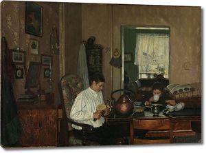 Густав Венцель. Завтрак. Мать художника и брат