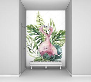 Ручной рисунок тропических птиц розовых птиц, деревья джунглей, Бразилия в моде. Идеально подходит для дизайна ткани. Коллекция Алоха .