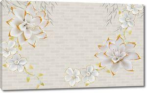 Кирпичный фон, белые позолоченной сказочные цветы