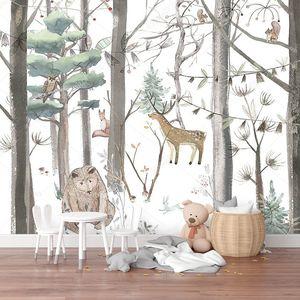 Рисованные животные в акварельном лесу