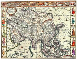 Старая карта с изображением людей