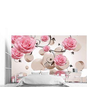 Бежевый цилиндры и розовые роз