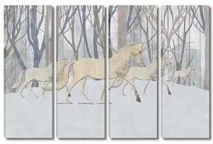 Белые лошади в лесу