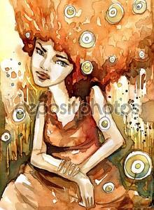 Женщина, сидящая на лугу