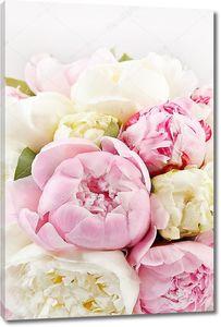 Богатый букет белых и розовых пионов