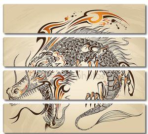 Дракон рисунок эскиз татуировки вектор