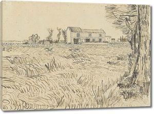 Ван Гог. Сельский дом в пшеничном поле