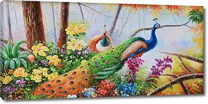 Разноцветные павлины