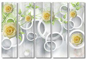 Белые кольца, большие желтые бутоны роз