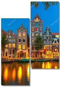 Ночной вид на город Амстердам