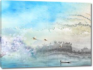 Рыбак и лебеди на плитке