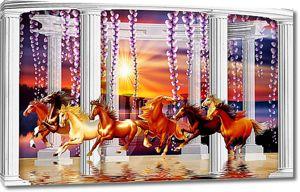 Лошади с ротондой