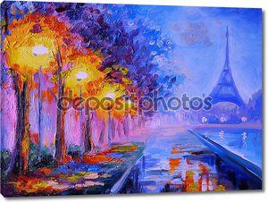 Картина маслом с Эйфелевой башней