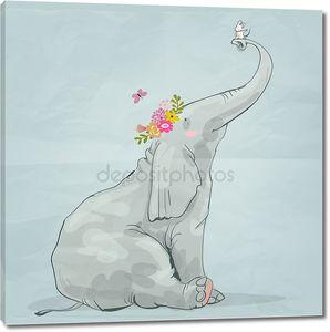 Милый слон с маленькой мышкой