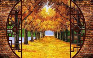 Осенняя аллея в круглом окне