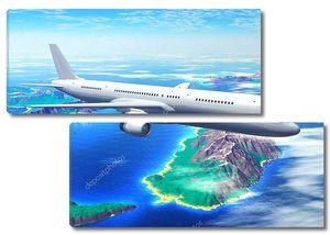 Сценический полет авиалайнера над океаном с курортными островами