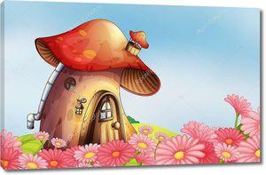 Сад с домом из гриба