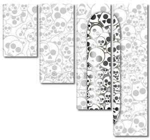Бесшовный фон черный и белый с черепами коньках палубу на белом фоне