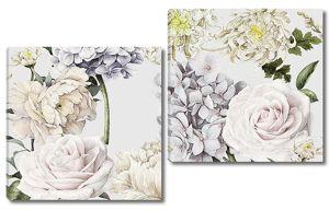 Розы с шапками сиреневых цветов